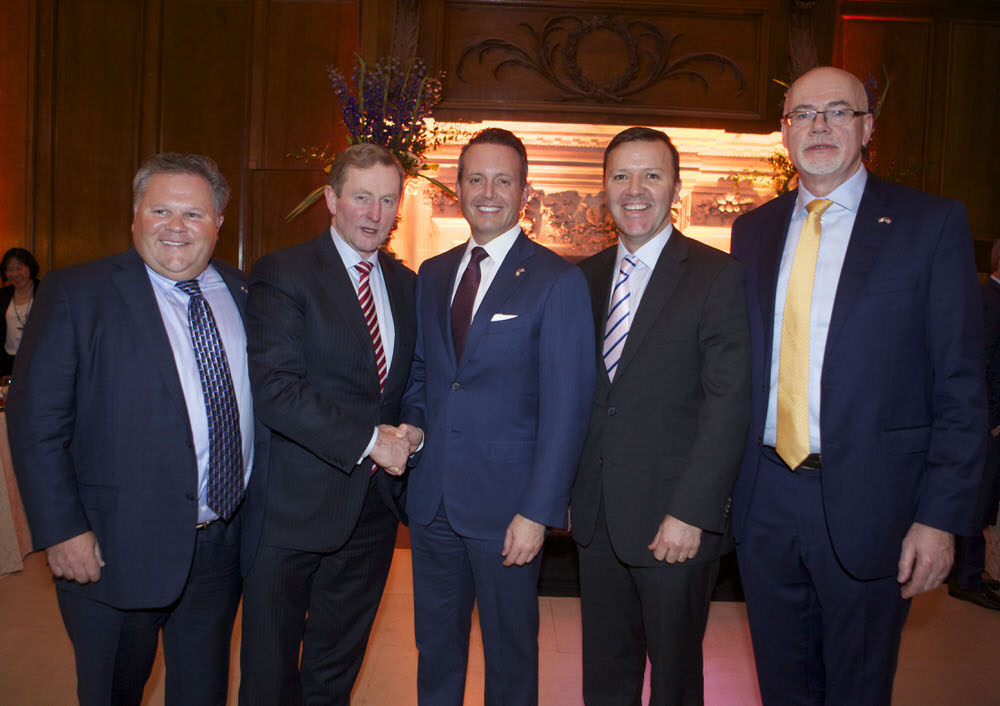 Robert Stewart, Chief Operating Officer of Allergan, An Taoiseach Enda Kenny, Brent Saunders, Chief Executive Officer of Allergan, James Finnigan, Head of Rolex Series Commercial Partnerships at the European Tour and Patrick O'Donnell, Senior Vice President of Global Manufacturing at Allergan