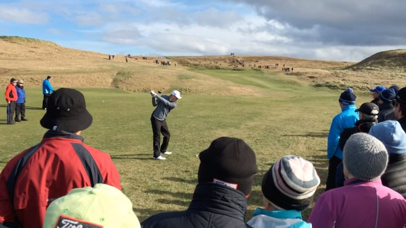 Kevin LeBlanc hits to the 17th in the Radisson Blu sponsored West of Ireland Championship quarter-finals in 2016.
