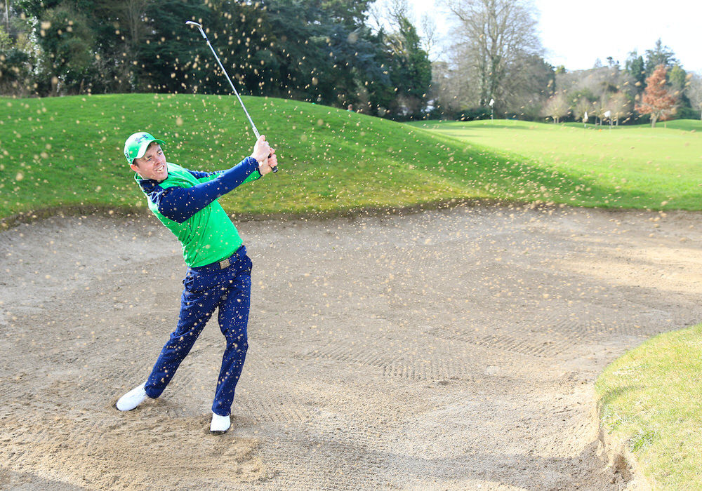 Stewart Grehan shows off his bunker play at the Under Armour Ireland Golf Apparel launch at the GUI National Academy, Carton House. 13/03/2017. Picture courtesy Golffile | GUI
