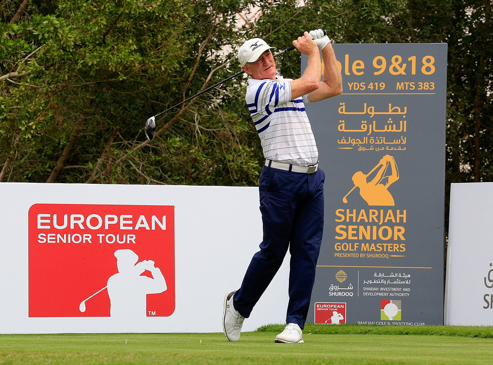 SHARJAH, UAE: Chris Williams of South Africa in action during the first round of the Sharjah Senior Golf Masters at Sharjah Golf & Shooting Club on March 16, 2017. Photo by Phil Inglis/Getty Images)