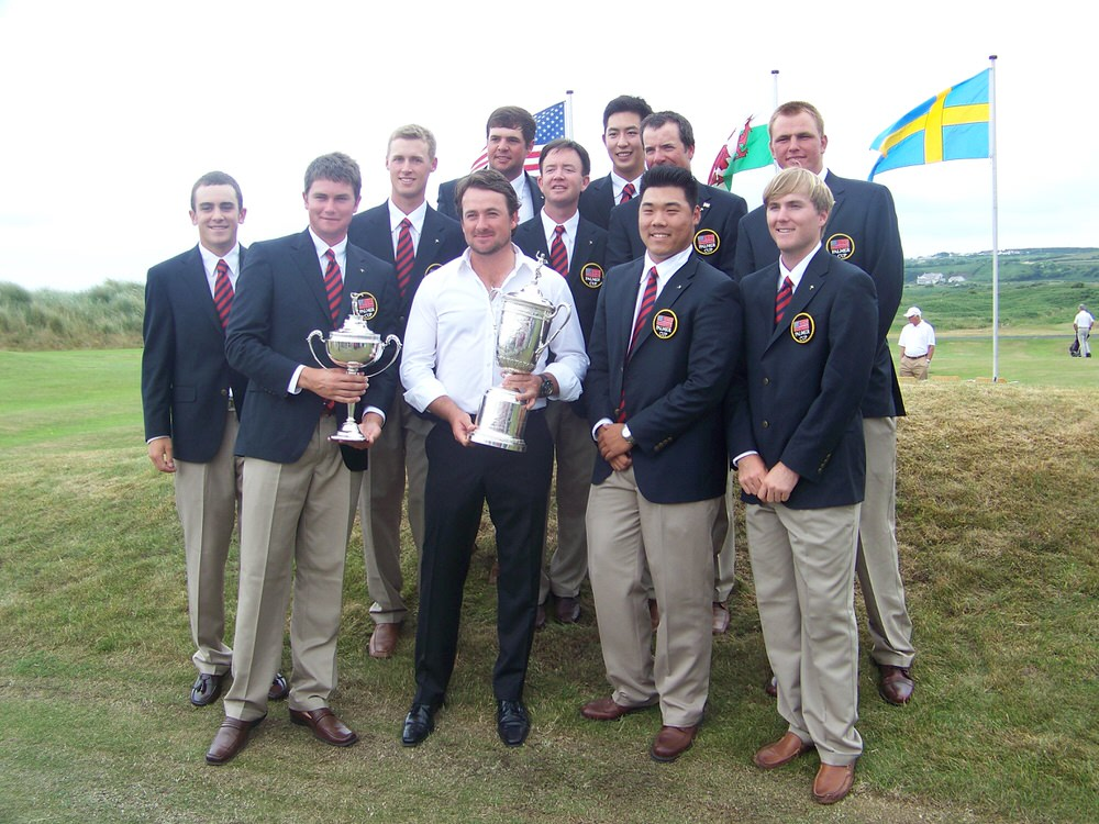 US Open champion Graeme McDowell with the winning American Palmer Cup team at Royal Portrush in 2010
