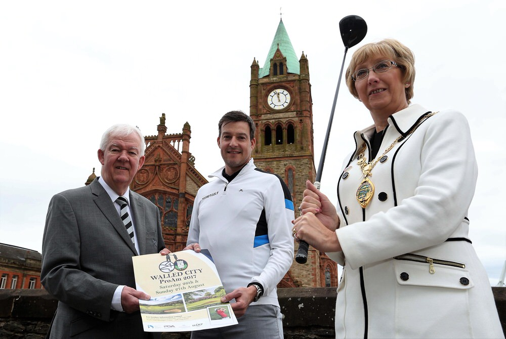 (Left to right) Michael Mc Cumiskey, PGA in Ireland; Simon Thornton, PGA Professional Golfer and Lady Mayor Alderman Hilary McClintock, Mayor of Derry City & Strabane District Council.