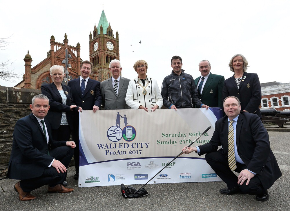 Back row L-R: Christine Mitchell, Lady Captain, City of Derry Golf Club; Mike Carroll, Captain, City of Derry Golf Club; Michael Mc Cumiskey, PGA in Ireland; Lady Mayor Alderman Hilary Mc Clintock, Mayor of Derry City & Strabane District Council; Simon Thornton; Martin Campbell, Captain, Foyle Golf Centre and Florence Rankin, Lady Captain, Foyle Golf Centre. Front row L-R: Odhran Dunne, Visit Derry and Ciaran O Neill, Bishop's Gate Hotel