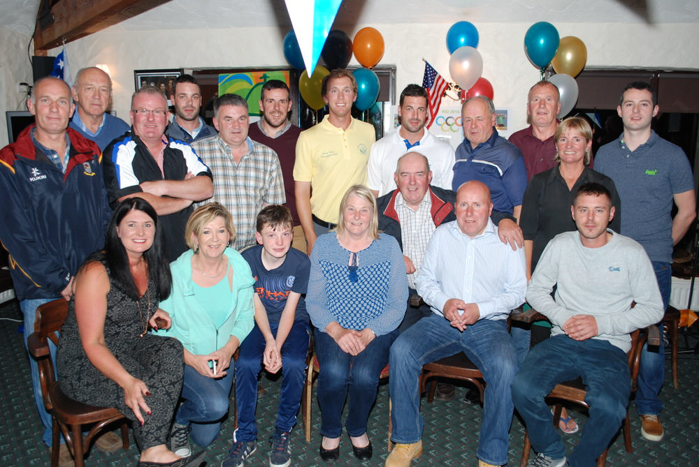 Seamus Power with supporters and friends at West Waterford Golf Club