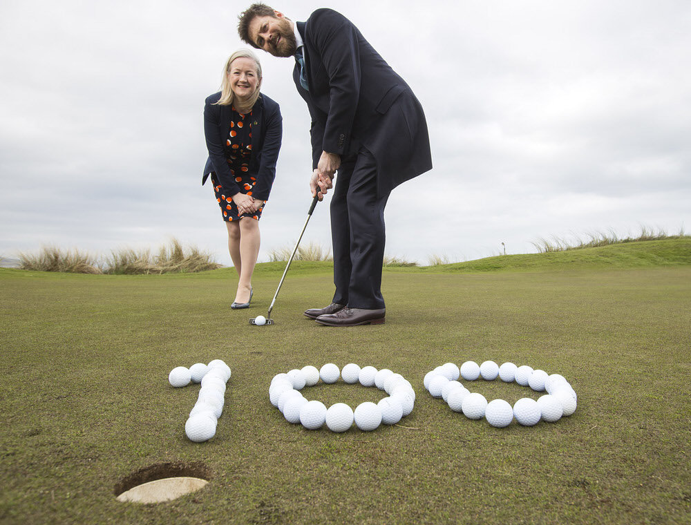 Aine Kearney, Tourism NI Director of Business Support and Events and Simon Alliss, Irish Open Championship Director, put in some practice at Portstewart Golf Club which is hosting the Irish Open July 6-9