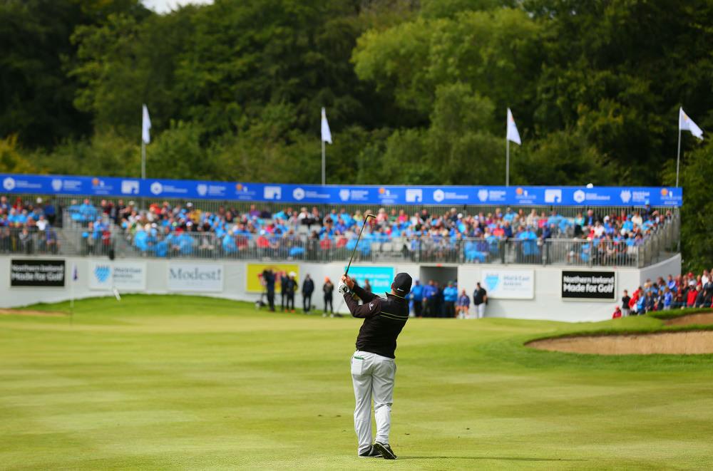 2016 NI Open winner Ryan Fox (New Zealand) plays his approach to the 18th green at Galgorm Castle Golf Club, Ballymena (Kevin Scott/PressEye)