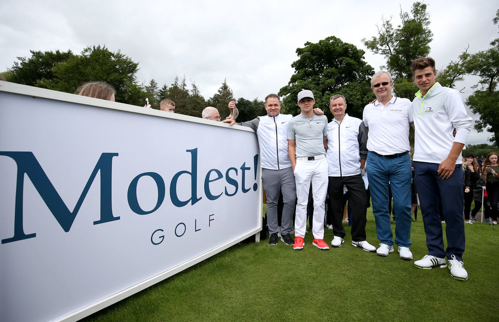 Modest! Golf Directors Mark McDonnell, Niall Horan and Ian Watts alongside Modest! Management Co-Founder Richard Griffiths and Modest! golfer Guido Migliozzi at the 2016 NI Open. Picture: Matt Mackey/PressEye)