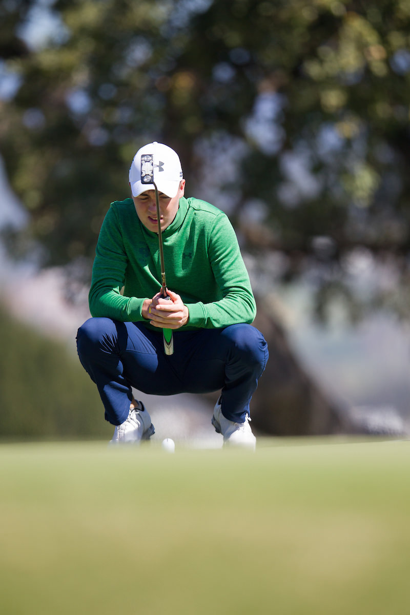 Kevin LeBlanc reads a putt during the first round in Cádiz. Picture: Golffile | Fran Caffrey