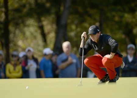 CHEONAN, Korea, Oct 20 – Rory McIlroy of Northern Ireland in action on Sunday 20 October, 2013, during the final round of the Kolon Korea Open at Woo Jeong Hills Country Club. Picture by Paul Lakatos/OneAsia.