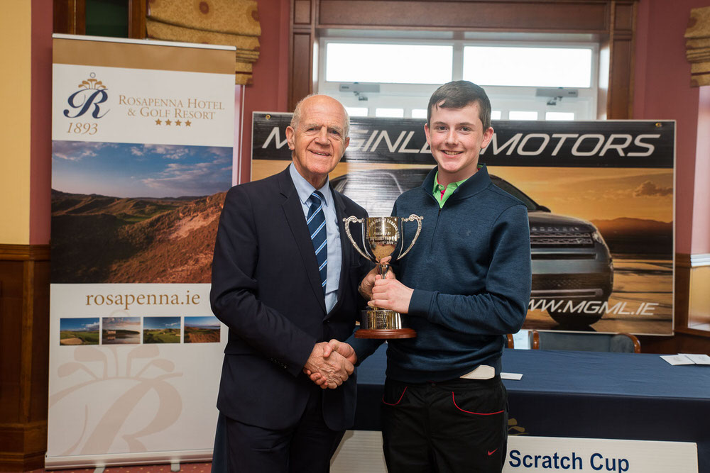 Sponsor Noel McGinley of McGinley Motors, Letterkenny presents the Rosapenna Junior Scratch Cup to Strabane's Conor Byrne