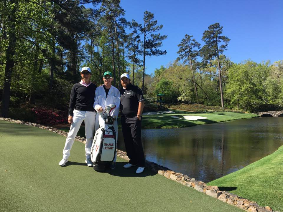 Shane Lowry on his 30th birthday at Augusta National with coach Neil Manchip and caddie, Dermot Byrne. Picture; Dermot Byrne/Facebook