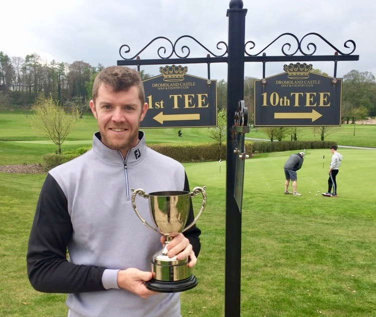 Peter O'Keeffe (Douglas) with the 2017 Titleist MidWest Alliance Shootout Trophy at Dromoland Golf Club