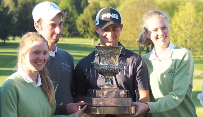 Tommy O'Driscoll (second left) with Conor O'Rourke after their win in the French International Foursomes. Pictured with women's event winners Julia Tournant and Alix François-Poncet.