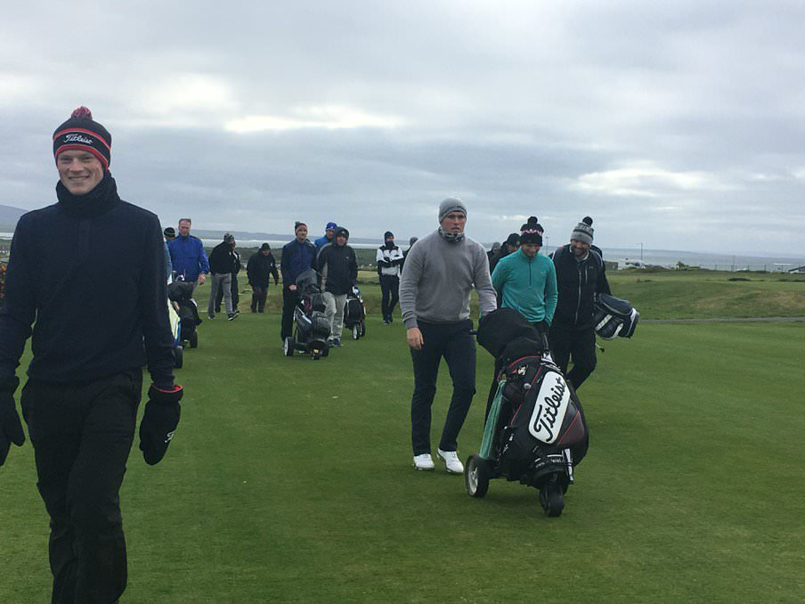 And they're off. Nine players head down the first at County Sligo in the Qualifier playoff for four spots.