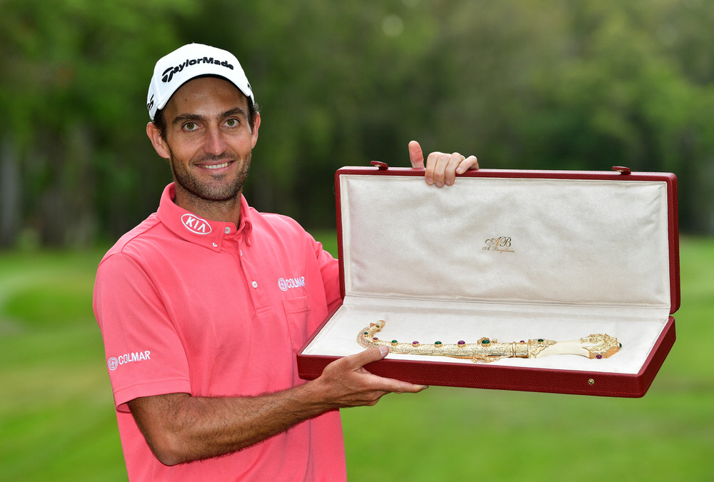 RABAT, MOROCCO - APRIL 16:  Edoardo Molinari of Italy celebrates his victory in the Trophée Hassan II at Royal Golf Dar Es Salam on April 16, 2017 in Rabat, Morocco.  (Photo by Stuart Franklin/Getty Images)