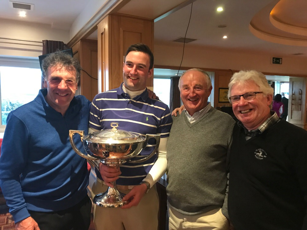 "L-R Aiden ""Kiddo"" Anderson (caddying in his 44th successive West) with winner Barry Anderson, and Co Sligo stalwarts John O'Sullivan and Anton Murphy"