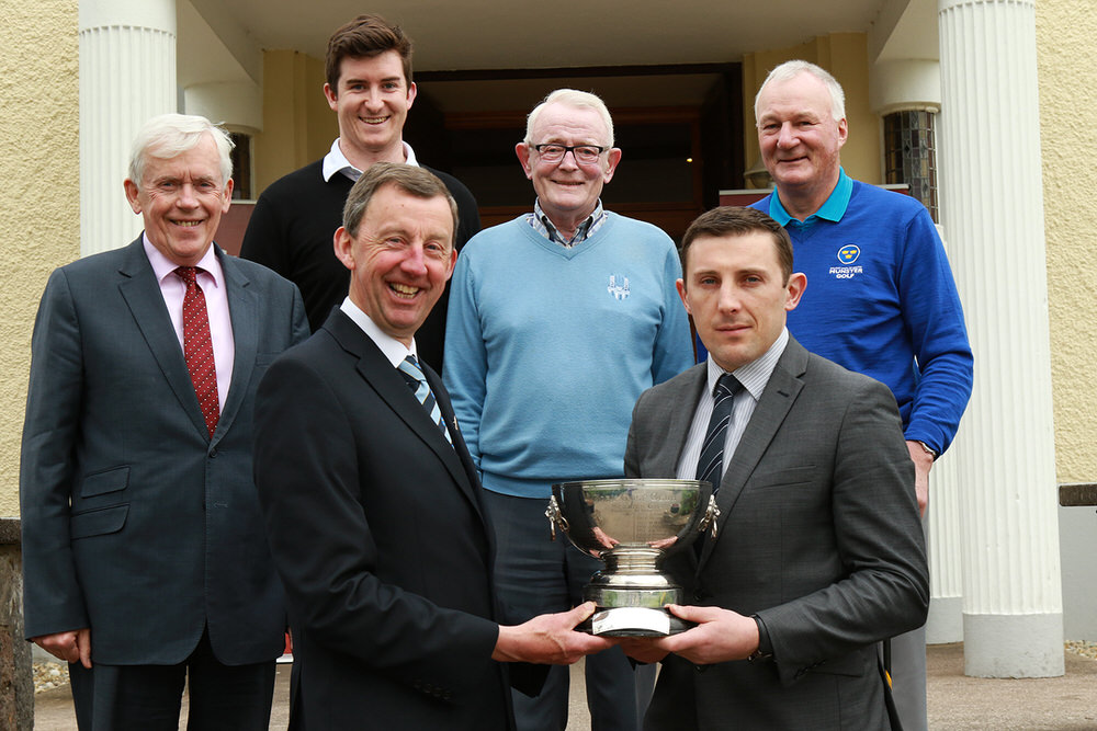 Munster Golf Chairman Jim Long and Noel O'Riordan from Ryan's SuperValu pictured with the Cork Scratch Cup at the launch of the Munster Strokeplay, sponsored by Ryan's SuperValu.  Also included are Tournament Director Matt Sands, John Hickey, Cork GC President Pat Tuttle and Munster Golf Match & Handicap Secretary Dave Prendergast. Picture: Niall O'Shea