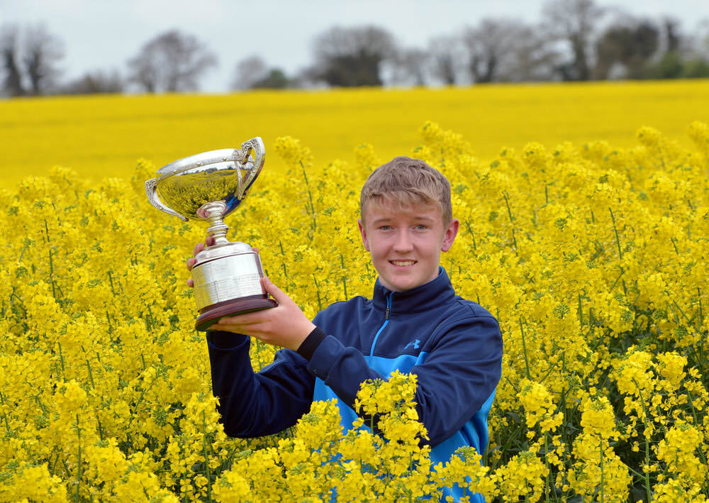 Winner Aaron Marshall (Lisburn) with the 2017 Leinster Boys Amateur Open Championship trophy after his victory at Headfort Golf Club. 21  April 2017. Picture by Pat Cashman
