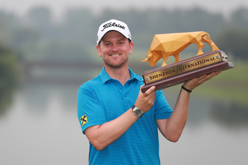 SHENZHEN, CHINA - APRIL 23:  Bernd Wiesberger of Austria poses with the trophy after winning the Shenzhen International at Genzon Golf Club on April 22, 2017 in Shenzhen, China.  (Photo by Zhong Zhi/Getty Images)