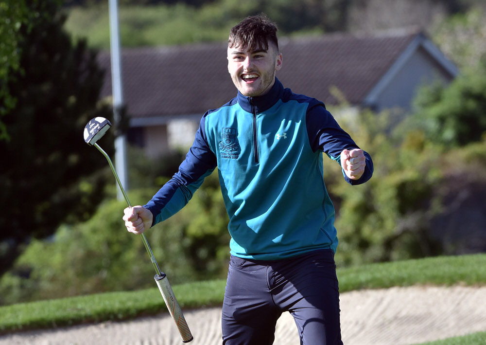 Ryan O'Connor (De La Salle, Waterford) holes the winning putt on the 16th green to win the 2017 Irish Schools Senior Championship at Lucan Golf Club. (25/04/2017). Picture by  Pat Cashman