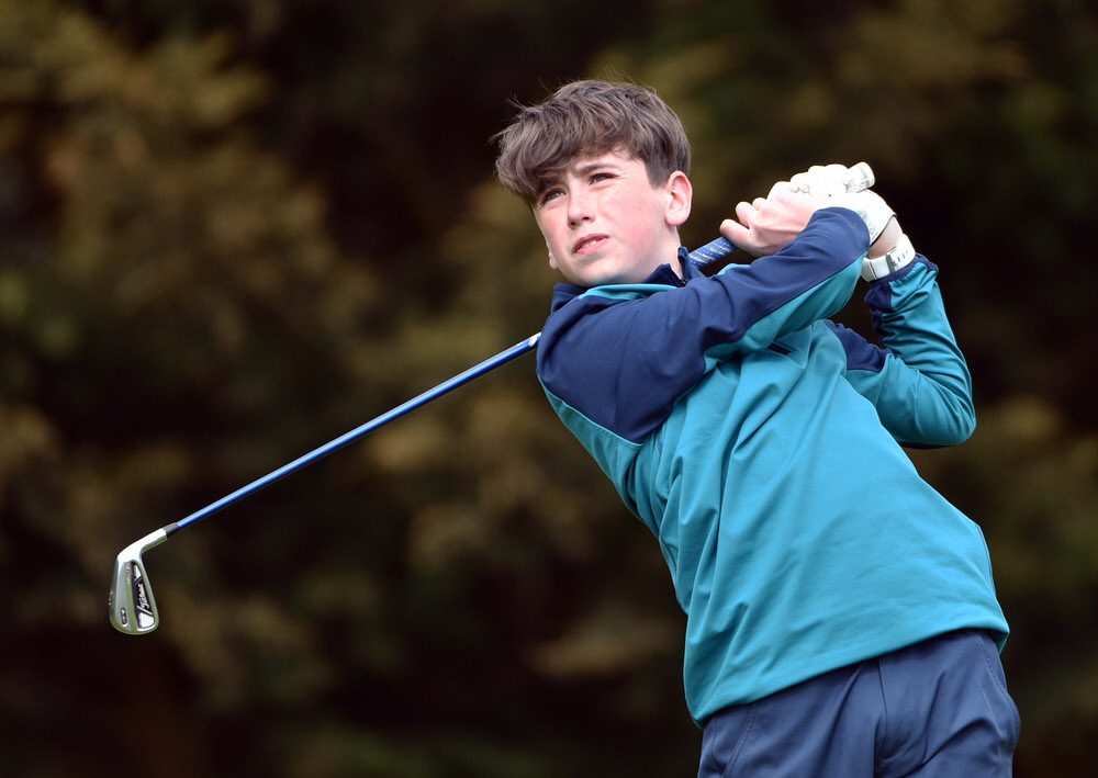 David Mahon (De La Salle, Waterford) driving at the 11th tee in the 2017 Irish Schools Junior Championship at Lucan Golf Club(26/04/2017). Picture by  Pat Cashman