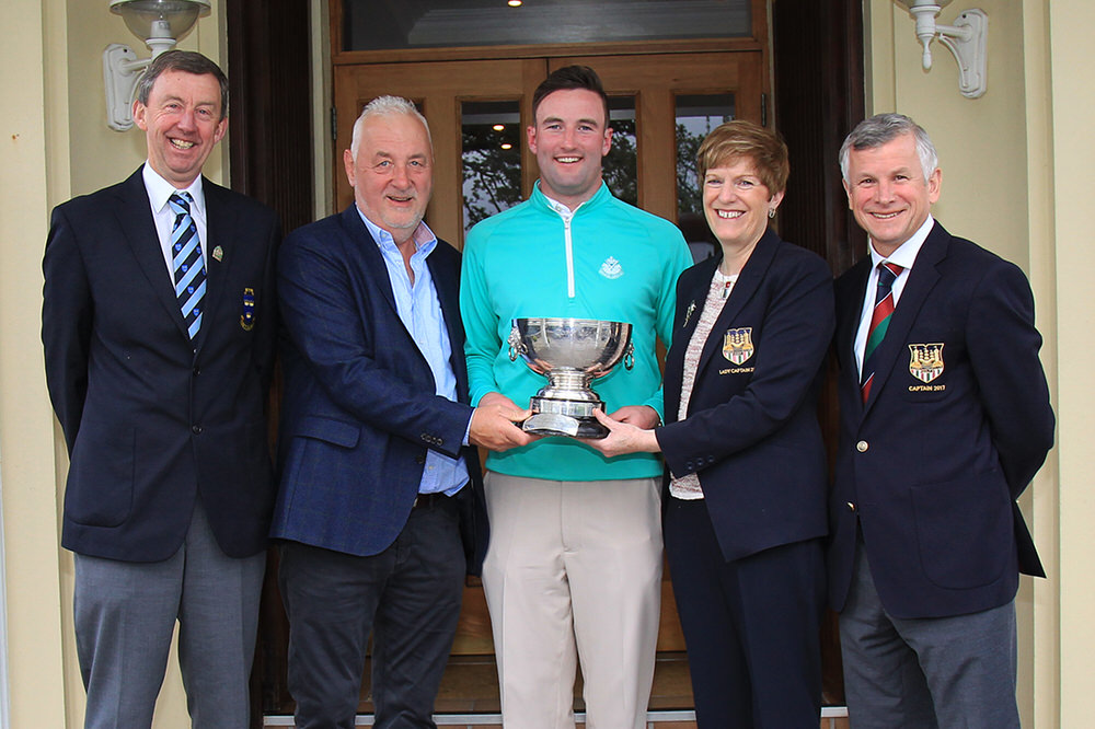 Munster Strokeplay winner Barry Anderson (The Royal Dublin) receiving the Cork Scratch Cup from Liam Ryan, Ryan's SuperValu and Nuala Lyden, Lady Captain, Cork GC.  Also pictured: Jim Long, Chairman, Munster Golf, and Rob Reardon, Captain, Cork GC. Picture: Niall O'Shea