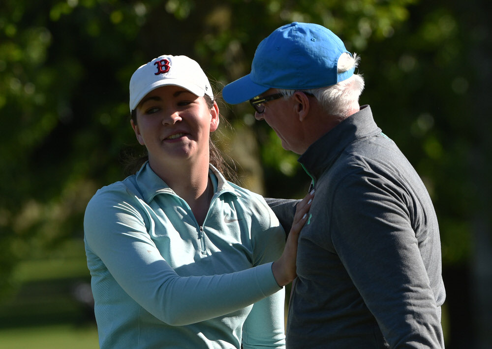 That's my girl.Ciara Casey (Hermitage) pictured with her father Donal after her victory in the Brady's (Castleknock) sponsored 46th Hermitage Ladies Scratch Cup at Hermitage Golf Club today (07/05/2017) Picture by Pat Cashman