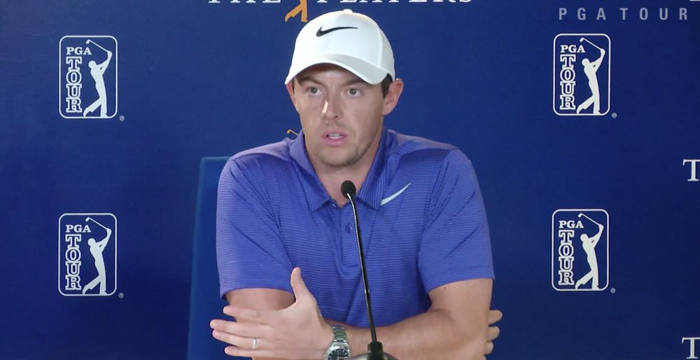 Rory McIlroy speaks to the media before The Players