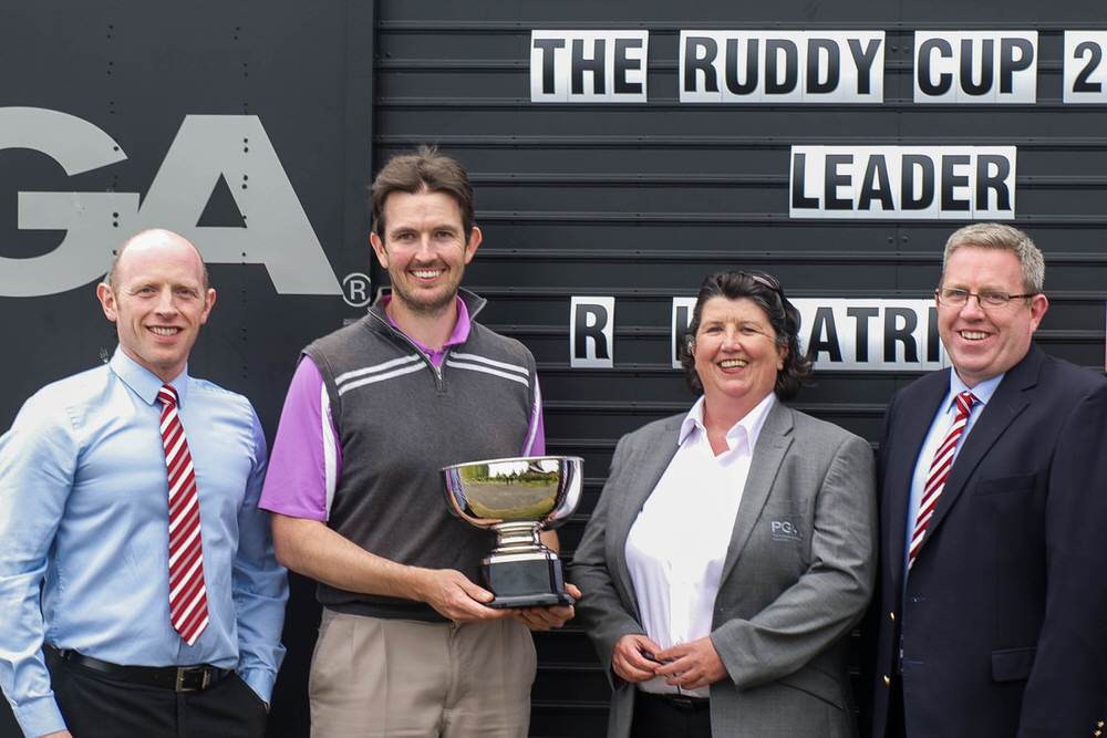 Left to right: Patrick Ruddy Jnr (The European Club), Richard Kilpatrick (Banbridge), Yvonne Cassidy (PGA), Gerard Ruddy (The European Club)