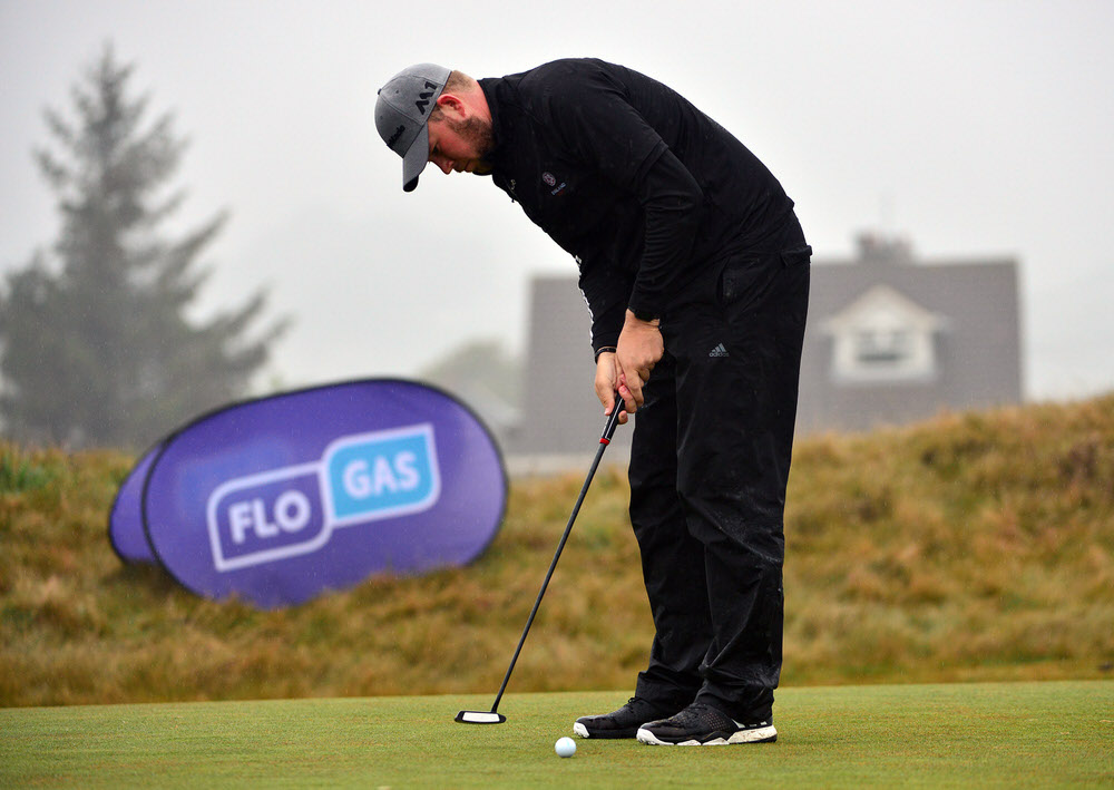 Sean Towndrow misses his birdie putt at the 18th in round two of the Flogas Irish Amateur Open at Royal County Down. Picture:  Pat Cashman