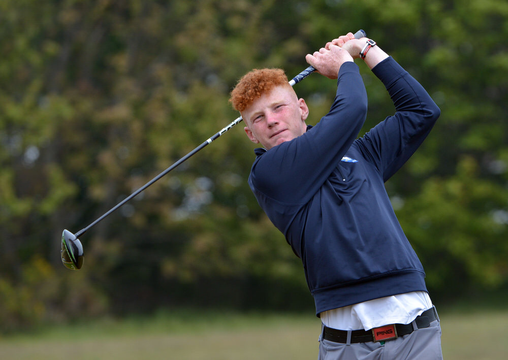 Kinsale's John Murphy tees off in the Flogas Irish Amateur Open at Royal County Down. Picture:  Pat Cashman
