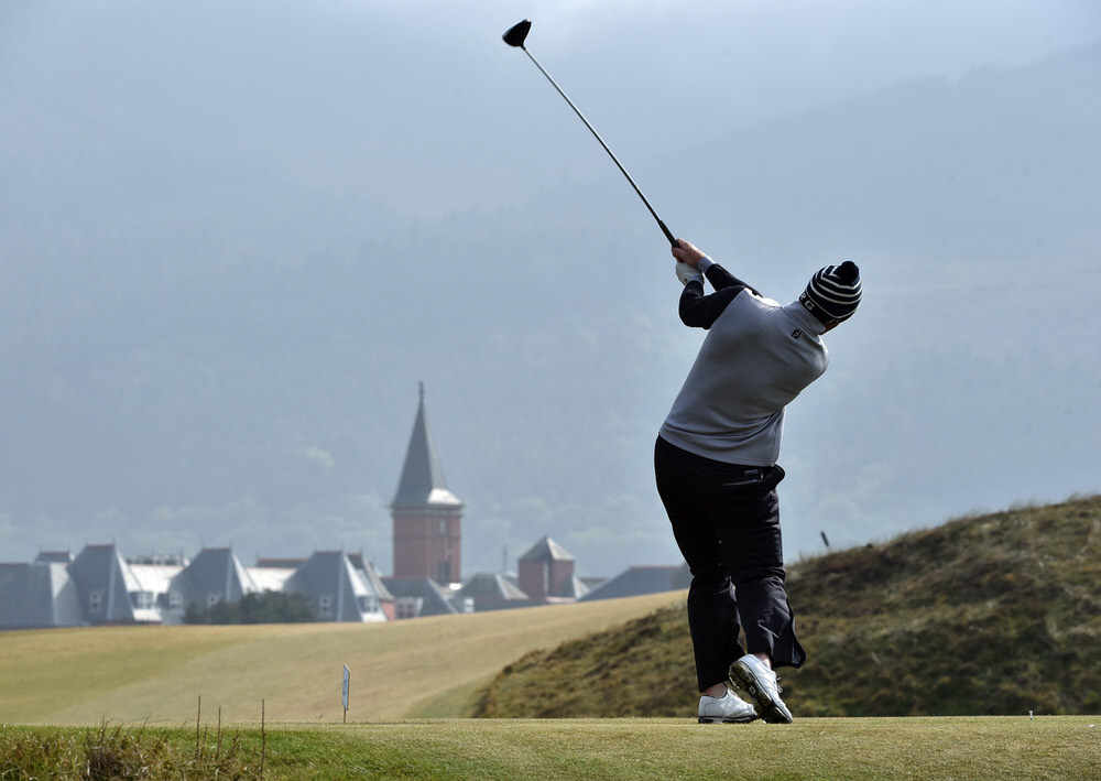Peter O'Keeffe (Douglas) driving at the 9th tee during the third round of the Flogas Irish Amateur Open Championship at Royal County Down Golf Club  (13/05/2017). Picture by  Pat Cashman
