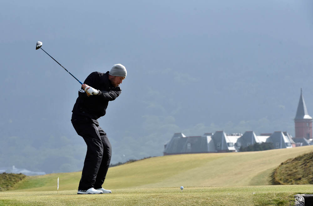 Sean Towndrow (Southport & Ainsdale) driving at the 9th tee during the third round of the Flogas Irish Amateur Open Championship at Royal County Down Golf Club.Picture by  Pat Cashman