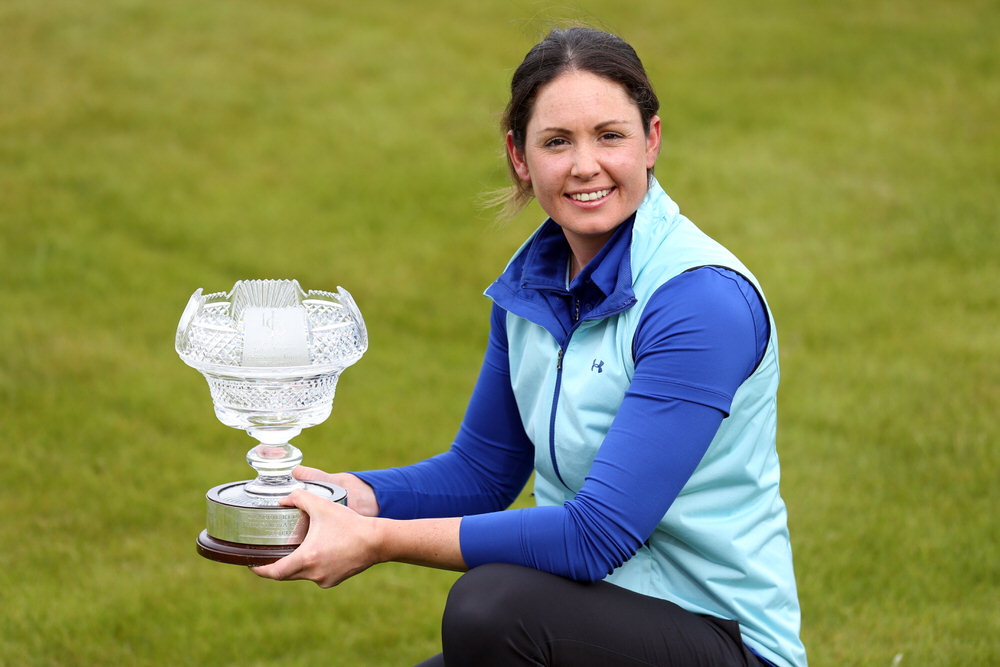 Irish Women's Open Stroke Play Championship winner Maria Dunne (Skerries) with the Reddan-Garvey Trophy at County Louth Golf Club. Picture: Jenny Matthews/cashmanphotography.ie)