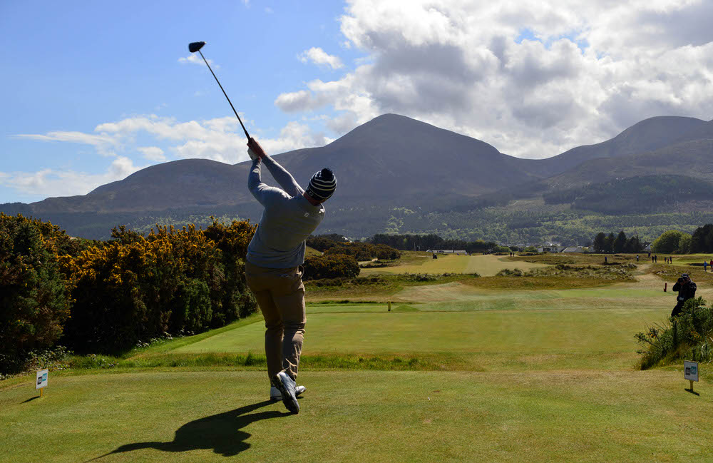 Peter O'Keeffe (Douglas) driving at the 18th tee during the final round of the Flogas Irish Amateur Open Championship at Royal County Down Golf Club (14/05/2017). Picture by  Pat Cashman