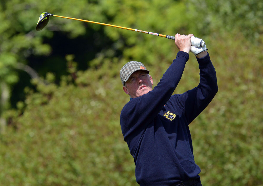 John Mitchell (Tramore) driving from the 15th tee in the final round of the 2015 Irish Seniors Amateur Open Championship at Roscommon. Picture by Pat Cashman
