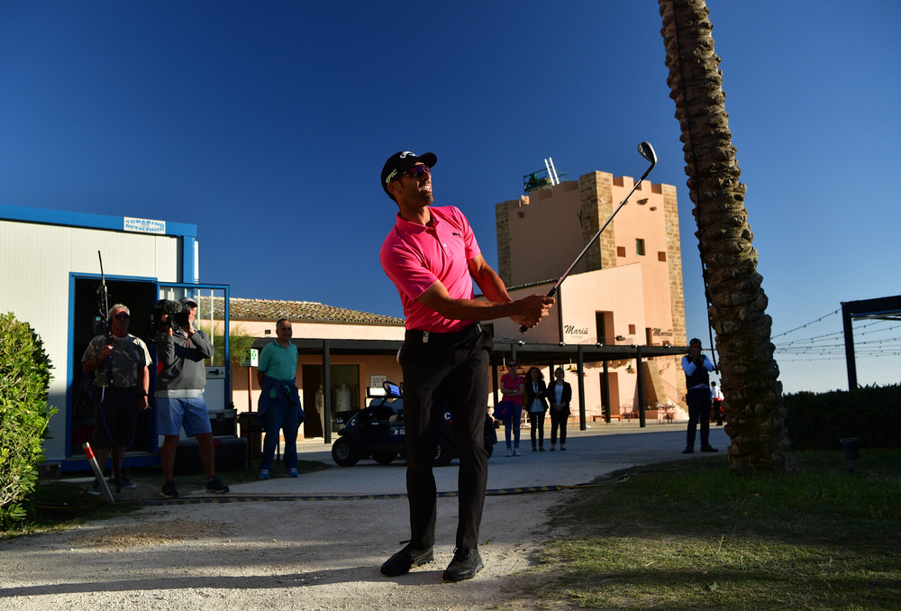 SCIACCA, ITALY - MAY 20:  Alvaro Quiros of Spain plays a shot off a path at the 18th hole during the third round of The Rocco Forte Open at The Verdura Golf and Spa Resort on May 20, 2017 in Sciacca, Italy.  Photo by Stuart Franklin/Getty Images