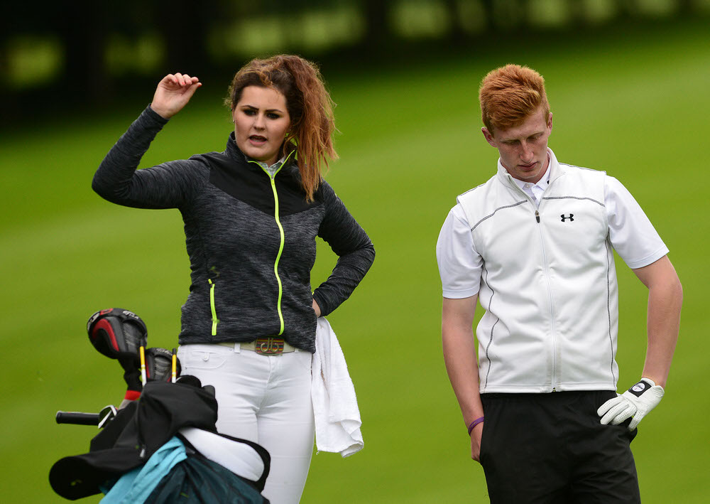 William Small (Tandragee) with Olivia Mehaffey on the bag, competing in the  2015 Fred Daly All Ireland Trophy final. .Picture by  Pat Cashman