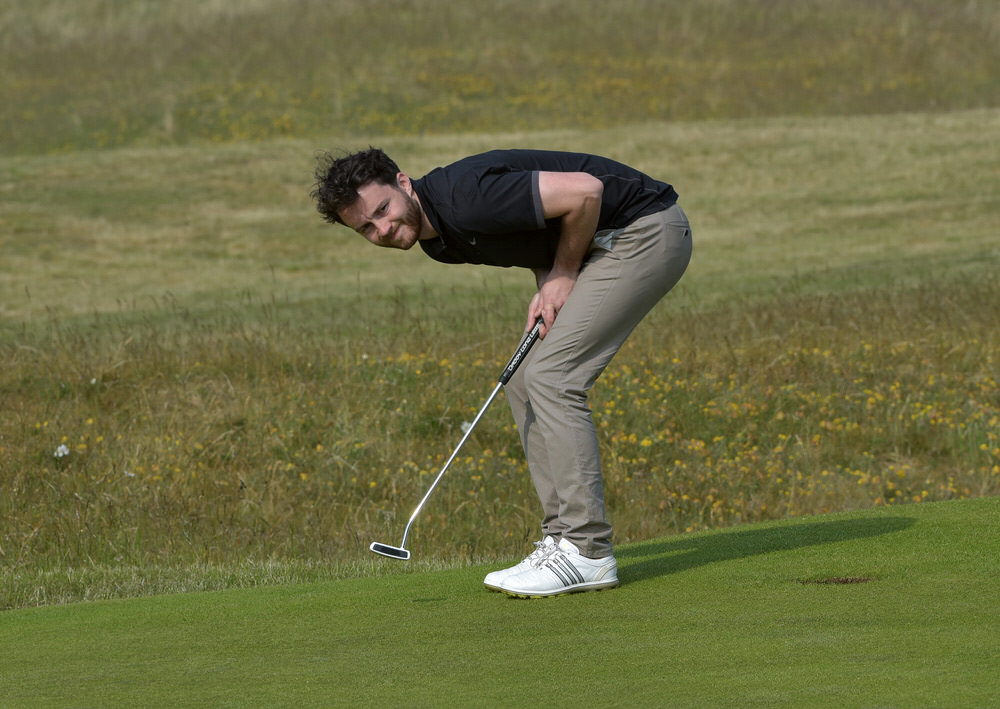 Gerard Dunne (Co Louth) reacts to his birdie putt on the 15th green during the final round of the 2016 City North Hotel sponsored East of Ireland Championship at County Louth. Picture by Picture by Pat Cashman