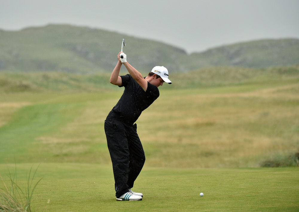 John Ross Galbraith (Whitehead) driving during the second qualifying round in the 2016 AIG Irish Amateur Close Championship at Ballyliffin. Picture by Pat Cashman
