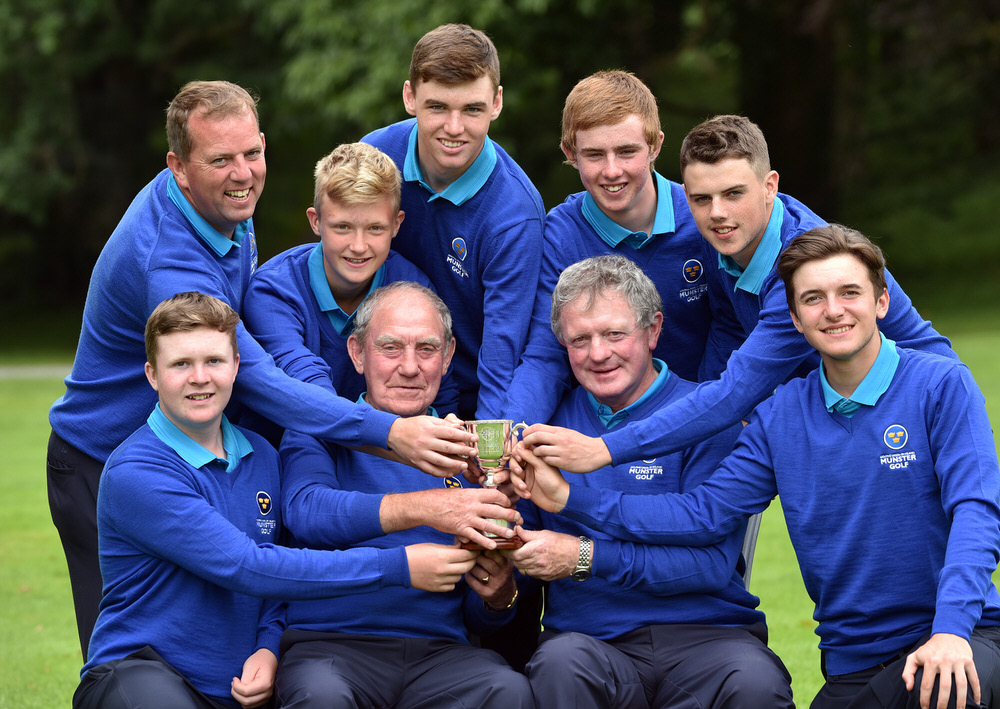 Kevin Murray (Team Captain) and John Fennessy (Team Manager) with the victorious Munster Under16 boys team (from left) Ian Halpin, Fred Twomey (Provincial Coach), Jack Egan, Charlie Dawson, Jonathan Keane, Sean Enright and Edward Walsh at the 2016 Boys Interprovincial Championship matches at Tullamore Golf Club today (22/07/2016). Picture by Pat Cashman