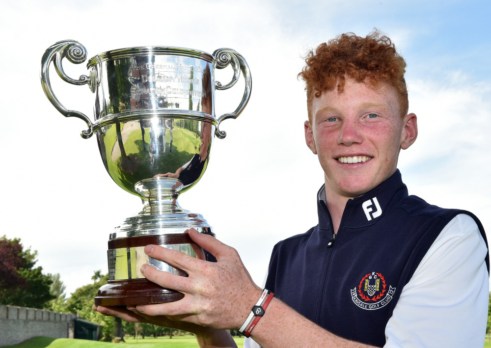 John Murphy (Kinsale) with the 2017 Leinster Students Amateur Open Championship trophy after his victory at Newlands Golf Club today (14/06/2017). Picture by  Pat Cashman