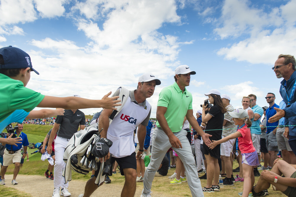 Portrush's Rickie Elliott walks with Brooks Koepka to the sixth tee during the final round of the 2017 U.S. Open at Erin Hills in Erin, Wis. on Sunday, June 18, 2017. (Copyright USGA/JD Cuban)