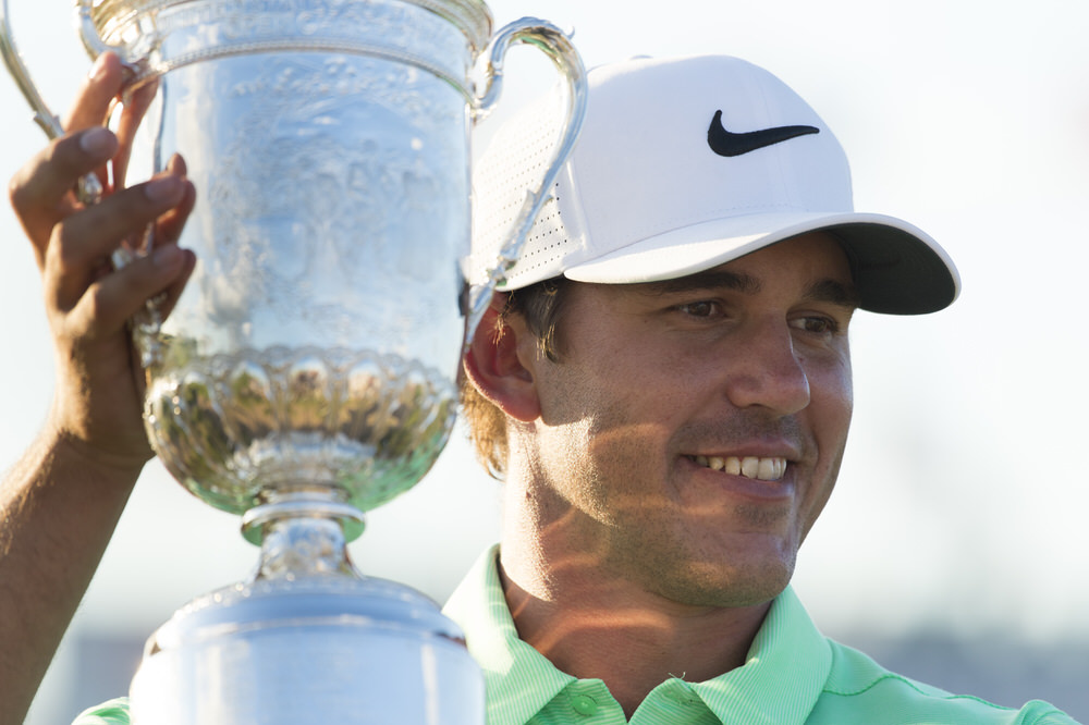 Brooks Koepka poses with the trophy after winning the 2017 U.S. Open at Erin Hills in Erin, Wis. on Sunday, June 18, 2017. (Copyright USGA/JD Cuban)