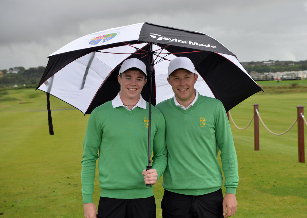 Stuart Grehan and Paul McBride before their debuts in the 2015 Home International Matches at Royal Portrush. Picture by Pat Cashman