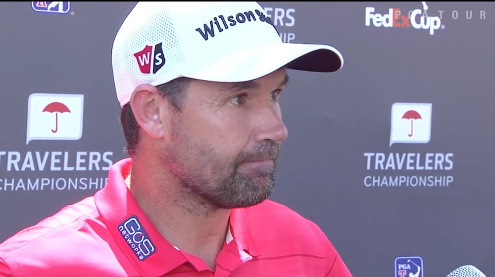 Pádraig Harrington speaks to reporters after his opening 66