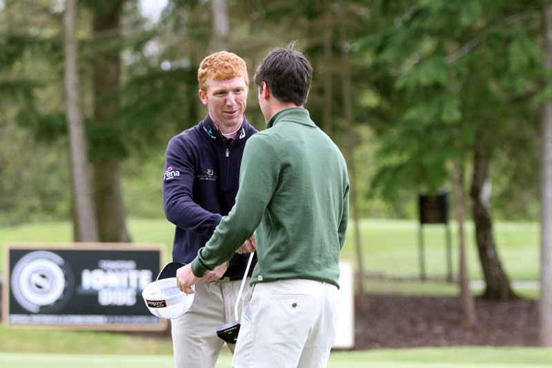 Gavin Moynihan is congratulated Dermot McElroy after his win on the Europro Tour earlier this year