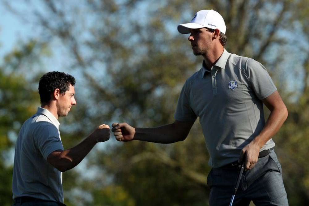 Rory McIlroy and Thomas Pieters. Picture: Getty Images
