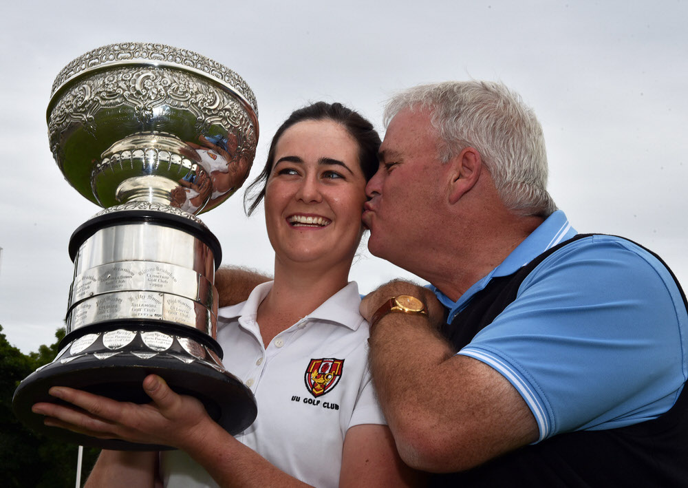 Paula Grant (Lisburn) received a kiss from her caddy and father Paul after her victory at the 2017 Irish Women's Close Amateur Championship at Mullingar Golf Club (25/06/2017). Picture by Pat Cashman