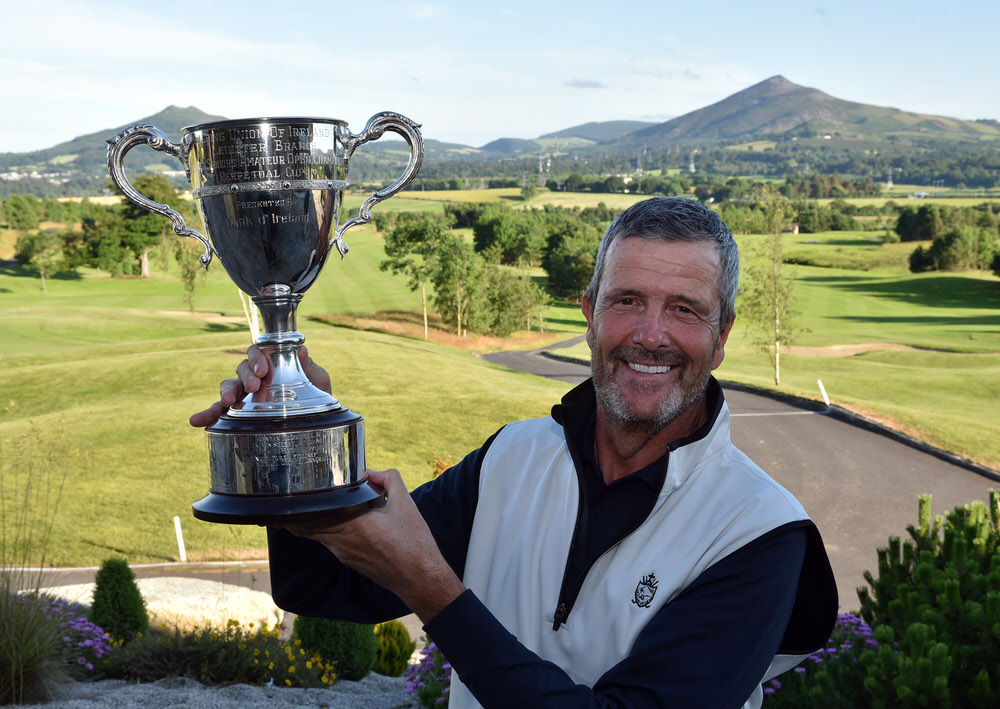 Adrian Morrow (Portmarnock) with the 2017 Leinster Seniors Amateur Open Championship trophy after his victory at Dun Laoghaire Golf Club (27/06/2017). Picture by  Pat Cashman